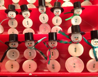 Vintage Button Snowmen Lapel Pins Brooches. Not Just For Holidays but All Winter Long on Your Coat Blouse, Sweater. Christmas Ornaments too