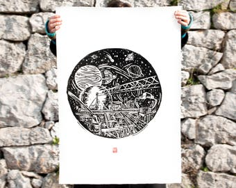 LINOCUT PRINT- Magrathea- artistic print- The Hitchhiker's Guide to the Galaxy