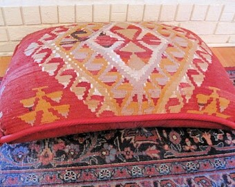 """Kilim Floor Pillow, Hand Woven, Turkish-33""""x23""""inches"""