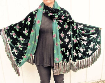 Cut Velvet Shawl-Vintage Pink and Green Roses on Black- with 68 Gorgeous Silk Tassel Fringe by the Old Silk Route