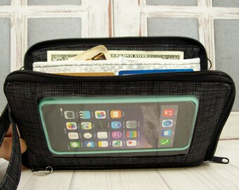 Womens Wallet • cell phone wallet • Bifold • Zip Around • Coal Grey • Keep in Touch MEGA Wallet  • 1b