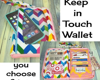 Cell Phone Wristlet • iPhone Wristlet Case • Clutch Purse • small wristlet wallet • CUSTOM • choose fabric • Keep in Touch Wallet • (2b)