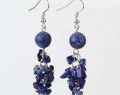 Genuine Lapis Lazuli Dangle Earrings