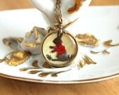 Run Old Bunny! Run! - Vintage Old Glass Bunny Rabbit Intaglio Necklace