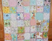 Custom order for Kathi  - I spy baby girl rag quilt cotton flannel toddler vintage chenille
