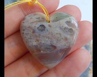 Ocean Jasper Heart Gemstone Pendant Bead,30x29x7mm,9.2g(c0880)