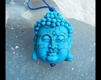 Carved Howlite Buddha Head Pendant Bead,31x24x13mm,12.60g