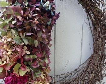 Hydrangea Wreath      Twig Wreath   Natural Wreath  Birch Wreath  Christmas Gift  Dried Wreath Hand Crafted Wreath