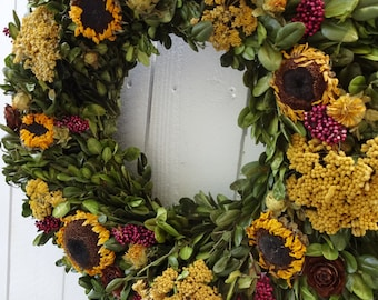 Boxwood Wreath  Natural Wreath    Mother's Day Gift    Dried Wreath  Fall Wreath  Autumn Wreath  Sunflower Wreath  Birthday Gift