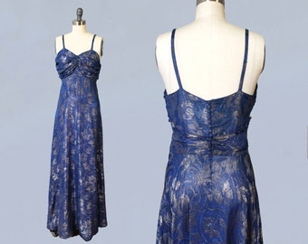 1930s Dress / 30s Periwinkle and Silver Metallic LAMÉ Evening Gown / Ruched Bust / Low Button Back / Stunning!!