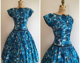 Vintage 1950's Teal Rose Print Dress 50's Jean Leslie