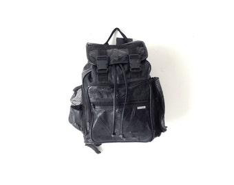 90s patchwork black LEATHER RUCKSACK backpack