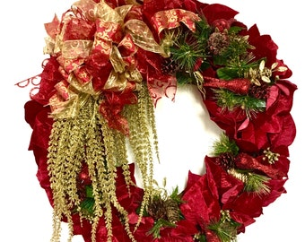 """Red Poinsettia Wreath Red Velvet w/ Gold Elegant Wreath Victorian Wreath Traditional Christmas Wreath  Approx 27"""" Indoor Outdoor"""