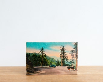 Americana Vintage Postcard Art Block 'Smoky Mountain Drive' - North Carolina, Great Smoky Mountains, mountain drive, retro postcard