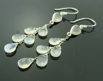 Rainbow Moonstone and Rose Quartz Dangle 925 Sterling Silver Cascade Earrings