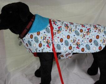 Fleece and Flannel Blue Super Dog Pet Coat
