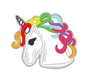 Rainbow pony head outline Key fob feltie - machine embroidery, key fob, feltie, mini embroidery design