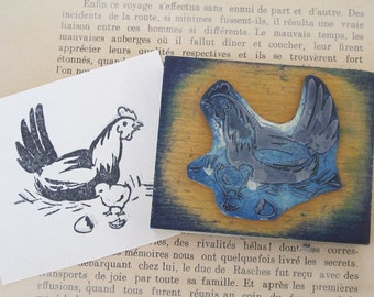 Vintage French rubber stamps, Hen and chick. Old stamps. School stamps. Vintage Paper Printer illustrators
