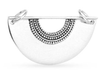 Scallop Festoon With Granulation Sterling Silver 20x30.3mm - 1 pc Wholesale Price (11252)/1