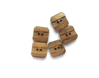 5 Wooden Vintage Square Buttons, Brown, Wood