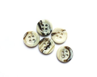 5 Marbled Brown & Ivory Buttons