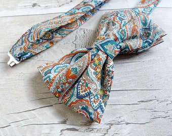 Paisley Print Bowtie - Teal Pattern Bowtie - Orange Pre-tied Bowtie - Blue Liberty Print Bowtie - Gift for Husband - Fathers Day Gift