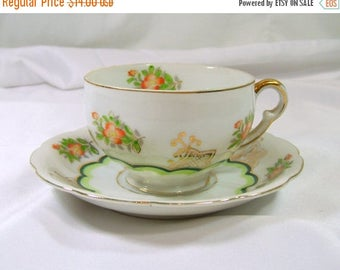ON SALE Vintage Ucagco China Tea Cup and Saucer Orange Blossoms Green Scallop Gold Trim Made In Japan