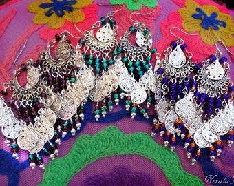 "Small 3"" Silver Charm Gypsy Chandelier Earrings, Ethnic, Boho, Blue, Amethyst Purple or Emerald Green, Ethnic East Indian, Clip-On Option"