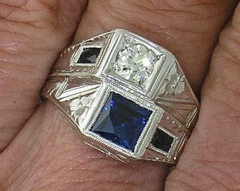 ANTIQUE DIAMOND RING-Art Deco Diamond & Sapphire Twin Ring in 14k White Gold