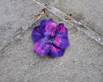 Felt flower, brooch, flower