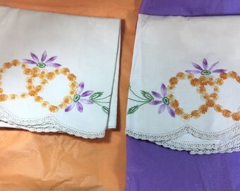 2 pillow cases, matching twin twins embroidery yellow purple daisy marigold