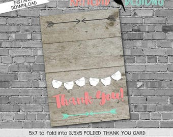 Tribal THANK YOU CARD folded 1417 wood arrows diapers rustic sprinkle digital printable baby shower birthday retirement wedding stationary