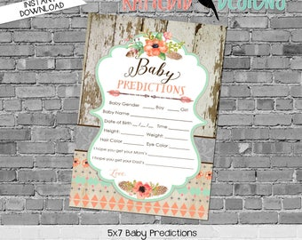 baby shower games printable baby predictions stats 1445 wood flowers feathers rustic digital gender sprinkle rustic chic coral mint green