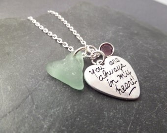 """Scottish Sea Glass Necklace with Engraved Heart Charm """"You are always in my heart Aqua Beach Glass Heart and February Birthstone"""