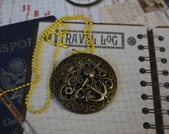 Steampunk necklace octopus ocean anchor chain pendant gears nautical