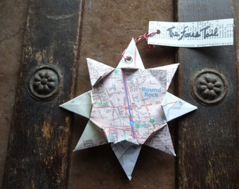 origami map ornament omaha nebraska home decor by thefoxestail