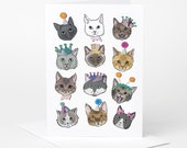 Cat Card (cat birthday card, cat celebration card, funny cat card, cat illustration, cute cat card, cat love, black white ginger grey tabby)