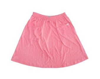 Vintage 80's ESPRIT Pink & White Polka Dot Poly-Cotton Blend Super Soft Skirt