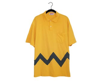 Vintage Charlie Brown Peanuts Yellow & Black Zig Zag Jerzees 50/50 Poly-Cotton Blend Collared Shirt, Made in USA