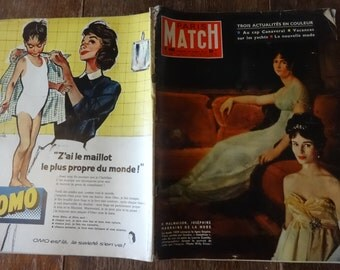 Vintage French Paris Match Magazine No 490 Josephine Marraine Special circa 30 Aout August 1958 / English Shop