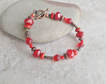 Bracelet red and copper, womens fashion, spring fashion, Mothers day gift, wedding jewelry, gift for daughter, layering bracelet, blood red