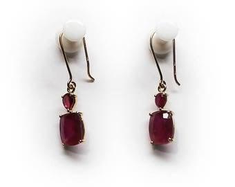 14K Yellow Gold Ruby Dangle Drop Earrings