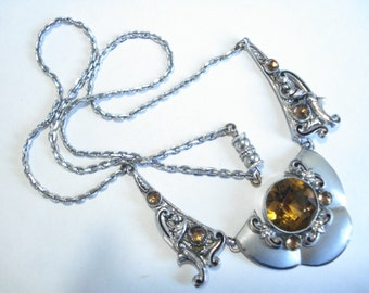 Art Deco  Necklace Chrome and Amber Glass  20's 30's