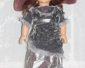 reserved listing emooney4 grey Edwardian dress and hat for 18in American girl dolls