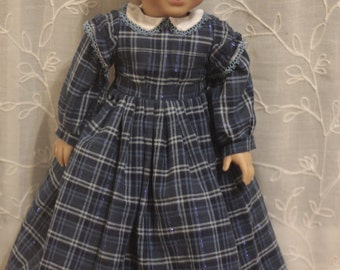 A is for Annabelle woven blue plaid dress and quilted petticoat for 18in American girl dolls
