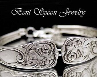 Vintage Silverware Jewelry Spoon Bracelet - Siren 1891, Spoon Cuff Bracelet, Bent Spoon Jewelry