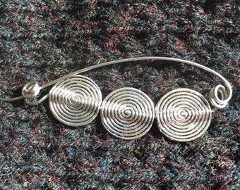 Contemporary Circles lightweight silver Shawl Pin, Scarf Pin, Sweater Pin, Shrug Closure