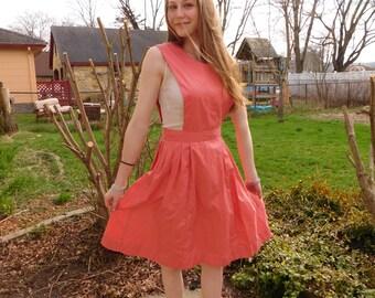 Vintage Candy Striper Apron Dress, Pink Pinafore , Bib Dress, Union Made Snowhite Sewing Dress