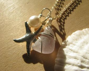 Pale Pink Sea Glass Jewelry Purple Sea Glass Necklace Lavender Real Beach Glass Wedding Jewelry Starfish