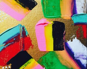 002 - The Interest   6x6 Acrylic Abstract Vibrant Original Painting on Thin Canvas